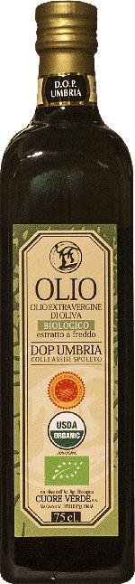 Extra-virgin olive oil DOP Organic Kosher Umbria Cuore Verde 0.75 lt.