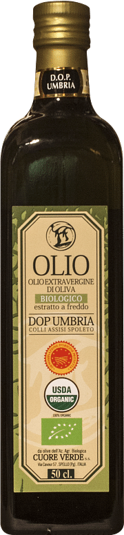 Extra-virgin organic DOP Kosher olive oil by Cuore Verde 0.50 lt.