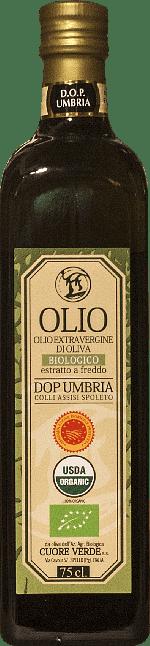 Olio extra-vergine d'oliva DOP Biologico Kosher Umbria Cuore Verde 0.75 lt.