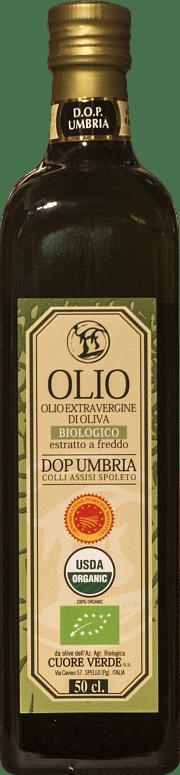 Olio extra-vergine d'oliva DOP Biologico Kosher Umbria Cuore Verde 0.50 lt.